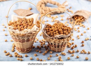 Healthy and tasty roasted chickpeas (Leblebi) snack with different spices. .sesame seeds, honey and sugar coated roasted chickpea.