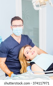 Healthy teeth patient at dentist office dental caries prevention.