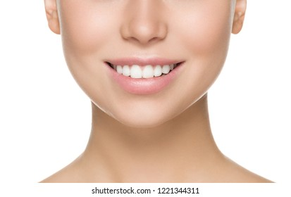 Healthy teeth smile woman close up face isolated on white