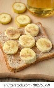 Healthy toast with banana, cinnamon and honey