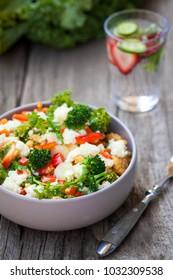 Healthy tofu egg whites vegetable scramble.