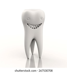 Healthy tooth with a smile on his face (character) on a white background