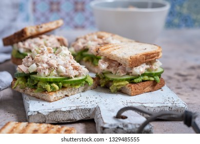 Healthy Tuna Sandwich with Avocado and Cucumber