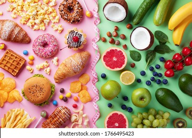 Healthy and unhealthy food background from fruits and vegetables vs fast food, sweets and pastry top view. Diet and detox against calorie and overweight lifestyle concept.