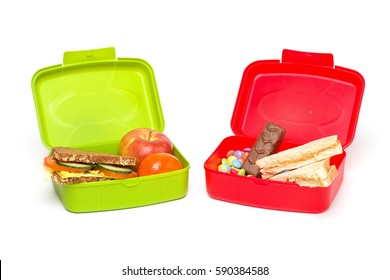 Healthy And Unhealthy School Lunch Box, Isolated on White, with Whole-grain Bread and Fruit, White Bread and Sweets