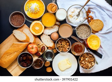 Healthy Various Assortment Set Breakfast Toast Egg Nut Butter Milk Orange Juice Black Table Top View