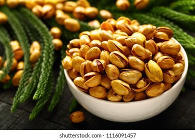 Healthy vegan appetizer -roasted pistachio nuts  .