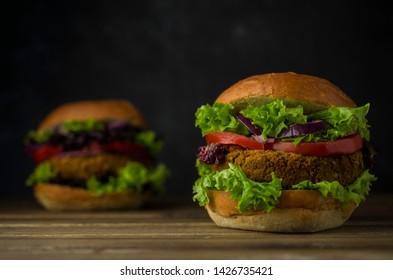 Healthy vegan burgers with vegetables