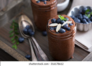 Healthy vegan chocolate chia pudding in jars