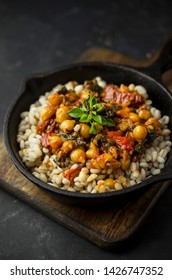 Healthy vegan dish with chickpeas