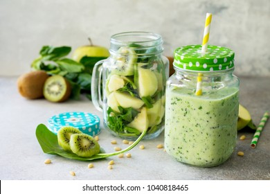 Healthy vegan food concept. Proper nutrition. Green smoothies and ingredients for the preparation of green smoothies.
