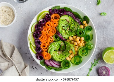 healthy vegan lunch bowl. Avocado and chickpeas vegetables salad. Top view, square image