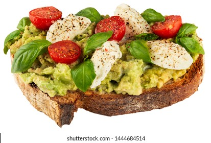 Healthy vegan sandwich with avocado, mozzarella, tomatoes and basil isolated on white