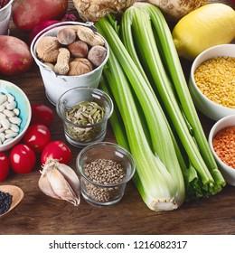 Healthy vegan and vegetarian food. Diet eating concept.