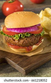Healthy Vegan Vegetarian Meat Free Burger with Lettuce Tomato and Onion