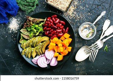 Healthy vegetable buddha bowl lunch, diet food