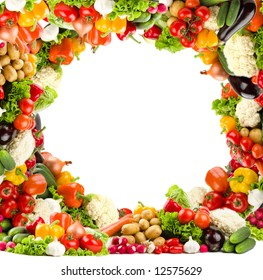 Healthy vegetable circular frame in high resolution