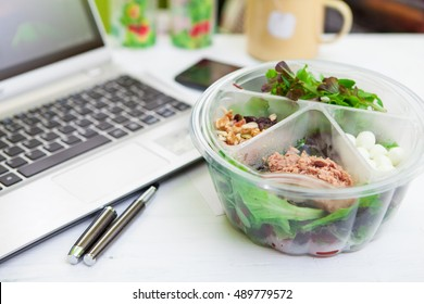 Healthy Vegetable Lunch Box On Working Desk
