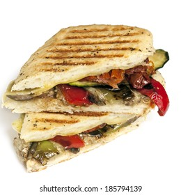 Healthy vegetable panini or focaccia, isolated on white.