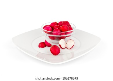 Healthy vegetable with  radish on white background.