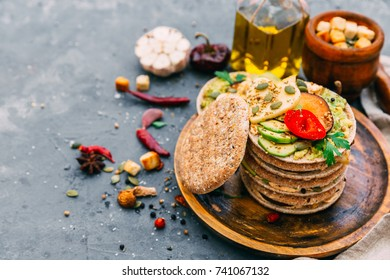 Healthy vegetable sandwich with vegetables on a light background - Shutterstock ID 741067132