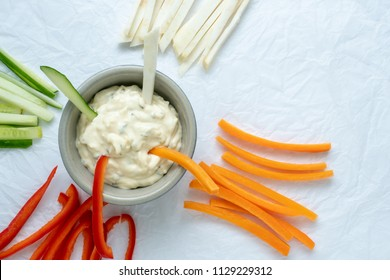 Healthy vegetables and dip snack. Vegetable sticks and dips in bowl.