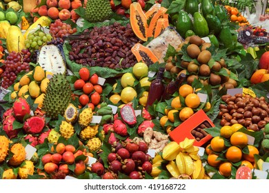 Healthy vegetables and fruits on market. Photo of different fruits and vegetables on table. High resolution product. Barcelona famous marketplace