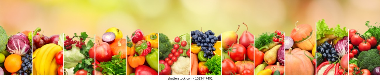 Healthy vegetables and fruits on multicolored blurred background. Top view. Copy space