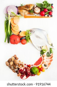 Healthy Vegetables, Meats, Fruit and Fish Shaped in Number Five 5.