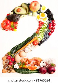 Healthy Vegetables, Meats, Fruit and Fish Shaped in Number Two 2