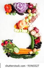 Healthy Vegetables, Meats, Fruit and Fish Shaped in Number Three 3
