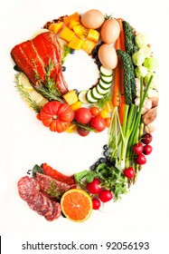 Healthy Vegetables, Meats, Fruit and Fish Shaped in Number Nine 9