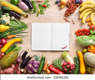 Healthy vegetables on a wooden background and notebook. Fresh vegetables background. Diet. Dieting. Space for your text. high resolution product
