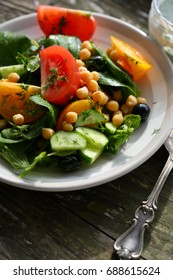 healthy vegetables salad with chick pea, food closeup