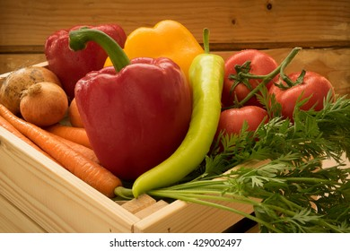 Healthy vegetables in wooden box