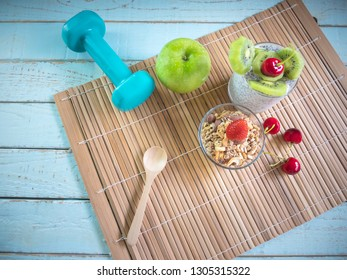 Healthy vegetarian breakfast bowls and chia pudding as  smoothie with kiwi and strawberry which clean eating, diet food concept