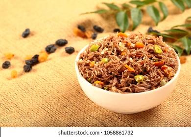 Healthy vegetarian food dish .delicious ragi,finger millet noodles ,upma,uppuma.