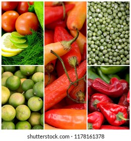 Healthy vegetarian food photo collage