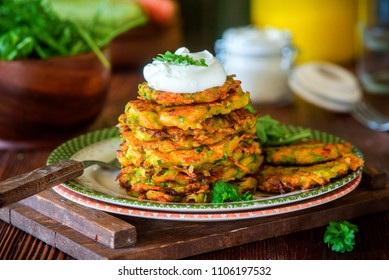 Healthy vegetarian zucchini carrot fritters pancakes