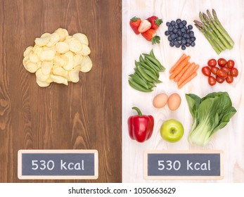 Healthy vs unhealthy food concept, making good choices on a diet