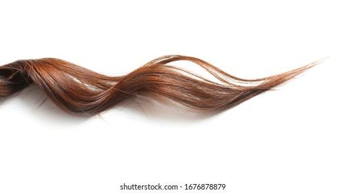 Healthy wavy female hair on white background - Shutterstock ID 1676878879