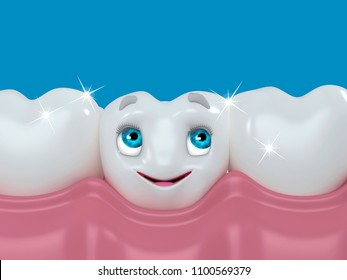 Healthy white teeth, tooth protection from tooth decay, gums with teeth, smiling tooth, character for dentistry, 3d illustration