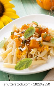 Healthy whole grain Penne (tube-shaped) pasta with pumpkin, goat cheese, sage, and pine nuts.