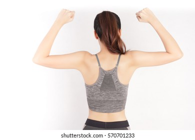Healthy Woman Back Showing How Strong, Fitness Girl in Workout Concept