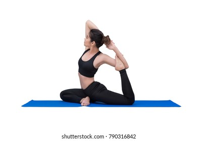 Healthy woman exercising yoga isolated with clipping path on white background.Photo design for fitness sporty woman and healthcare concept.