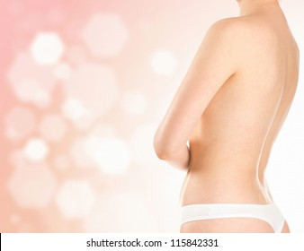 healthy woman on blurred background