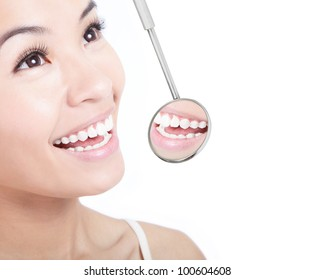 Healthy woman teeth and a dentist mouth mirror isolated on white background, model is a asian girl