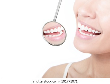 Healthy woman teeth and a dentist mouth mirror isolated on white background, model is a asian beauty