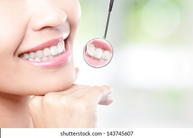 Healthy woman teeth and a dentist mouth mirror with nature green background, asian beauty