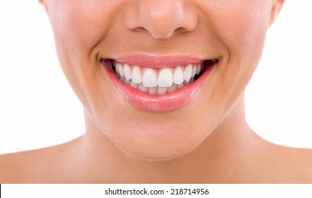 Healthy woman teeth and smile, close up